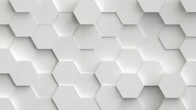 Abstracte witte achtergrond met 3D zeshoekenlijn royalty-vrije illustratie