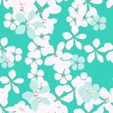 Abstracte witte en blauwe bloemen met gouden kern op turkooise achtergrond vector illustratie