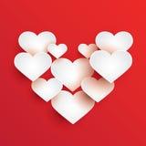 Abstracte witte hartvormen Royalty-vrije Stock Afbeeldingen