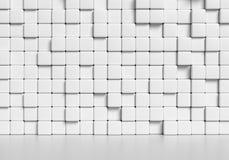 Abstracte witte kubussenmuur en vlotte vloer 3d illustratie Royalty-vrije Stock Foto