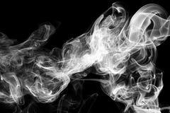 Abstracte witte rook op zwarte achtergrond Royalty-vrije Stock Foto