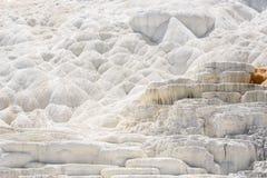 Abstracte witte textuurachtergrond Travertijnterras, de Mammoet Hete Lentes, Yellowstone Stock Afbeeldingen