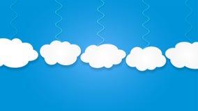 Abstracte Witte Wolken die op Blauwe Hemelachtergrond hangen stock illustratie