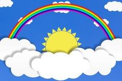 Abstracte Witte Wolken, Gele Zon en Regenboog op Blauwe Hemelachtergrond stock illustratie