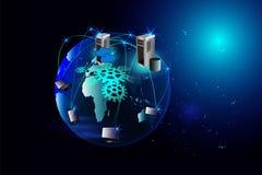Abstracte Wolk die Mondiaal Net gegevens verwerken Royalty-vrije Stock Afbeelding