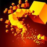Abstracte wolk van kubussen Stock Afbeeldingen