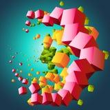 Abstracte wolk van kubussen Royalty-vrije Stock Afbeelding