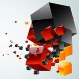Abstracte wolk van kubussen Stock Foto