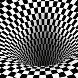 Abstracte wormholetunnel Geometrische Vierkante Zwart-witte Optische illusie Vector illustratie vector illustratie