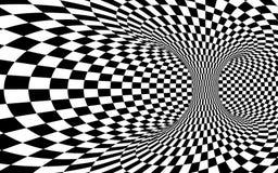 Abstracte wormholetunnel Zwart-witte vierkante optische illusie De abstracte achtergrond van de schaakillusie Vector illustratie stock illustratie