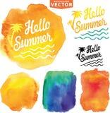 Abstracte wtercolorachtergrond De zomerontwerp Royalty-vrije Stock Afbeeldingen