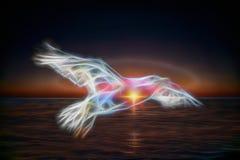 Abstracte Zeemeeuw op een achtergrond van het overzees Royalty-vrije Stock Fotografie