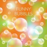 Abstracte zeepbels vectorachtergrond Transparante cirkel, gebiedbal, wateroverzees en oceaanpatroonillustratie Stock Foto's