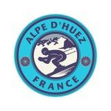 Abstracte zegel met de naam van Alpe Dhuez, Frankrijk royalty-vrije illustratie