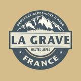 Abstracte zegel met de naam van het Graf van stadsla in Frankrijk stock illustratie