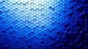 Abstracte zeshoeken willekeurige motie als achtergrond, blauwe kleur 4k vector illustratie