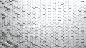 Abstracte Zeshoeken Willekeurige Motie Als achtergrond Witte kleur 4K royalty-vrije illustratie