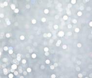 Abstracte zilveren cirkelbokehachtergrond Stock Fotografie