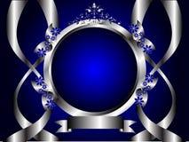 Abstracte Zilveren en Blauwe BloemenAchtergrond Royalty-vrije Stock Foto