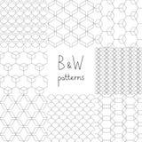 Abstracte zwart-witte eenvoudige geometrische naadloze geplaatste patronen, vector Stock Afbeeldingen