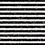 Abstracte zwart-witte gestreept op in achtergrond met het willekeurige gouden patroon van foliepunten U kunt voor groetkaart gebr royalty-vrije illustratie