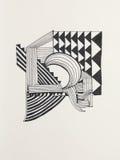 Abstracte zwart-witte illustratie Stock Afbeelding