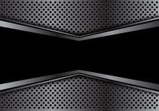 Abstracte zwarte banner in grijze van het het achtergrond netwerkontwerp van de pijlcirkel de luxe futuristische moderne textuurv Stock Foto