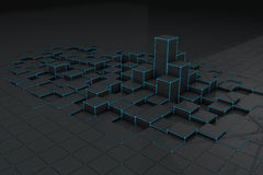 Abstracte zwarte 3d blokkenachtergrond Royalty-vrije Stock Foto