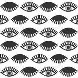 Abstracte zwarte die vrouwelijke ogen met zwepenpatroon knipperen op wit Stock Afbeelding