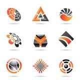 Abstracte zwarte en oranje Reeks 23 van het Pictogram Stock Foto