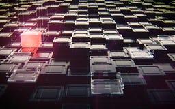 Abstracte zwarte kubussen met rood lichttechnologie royalty-vrije stock afbeelding