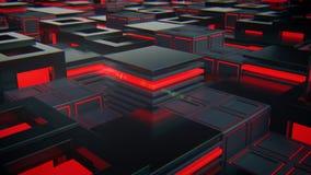 Abstracte zwarte kubussen met rood lichttechnologie Royalty-vrije Stock Foto