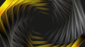 Abstracte zwarte oranje glanzende zeshoeken videoanimatie stock videobeelden