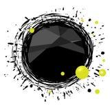 Abstracte zwarte vlek met plonsen bij wit Stock Afbeelding