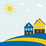 Abstracte Zweedse Vlag met Traditionele Huizen, Zon, Wolken, Blauwe Hemel en Lijnen Royalty-vrije Stock Afbeelding