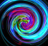 Abstractfu blue spiral with a complex filamentary structure on black background. Fractal art graphic. Stock Image