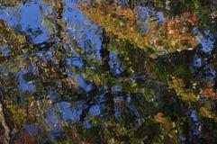 Abstractie: de kleurenbezinning van het de herfstgebladerte in water Royalty-vrije Stock Afbeelding