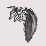 Abstractie in de vorm van een dier, grafiek, druk Royalty-vrije Stock Afbeeldingen