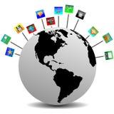 De aarde en de pictogrammen 24.03.13 royalty-vrije illustratie