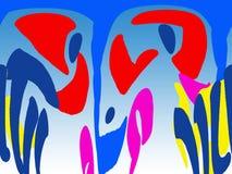 Abstractie het blauwe portret Stock Afbeelding