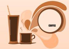 Abstractie met kopkoffie en een tekstetiket Stock Afbeeldingen