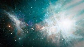 Abstractie ruimteachtergrond voor ontwerp Mystiek licht planeten, sterren en melkwegen in kosmische ruimte die de schoonheid van  Stock Afbeeldingen