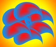Abstractie van blauwe dalingen met een rode kern. Royalty-vrije Stock Afbeeldingen