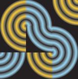 Abstractie van cirkels op zwarte vierkanten Stock Fotografie
