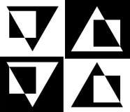Abstractie van driehoeken en vierkantenontwerp bedrijfsembleem Stock Fotografie