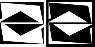 Abstractie van een geïsoleerd vierkant en een driehoek en op een donker achtergrondontwerp bedrijfsembleem Stock Afbeeldingen