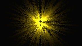Abstractie van explosie van confettien Grafische die animatie van confettienexplosie het divergeren van centrum van krommen wordt stock footage