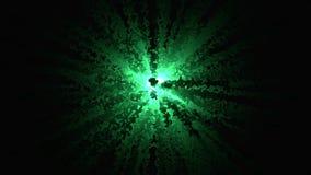 Abstractie van explosie van confettien Grafische die animatie van confettienexplosie het divergeren van centrum van krommen wordt stock video