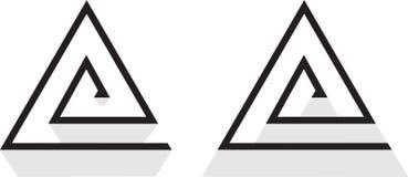 Abstractie van lijnen in de vorm van een driehoek, spiraalvormig ontwerp bedrijfsembleem Royalty-vrije Stock Fotografie