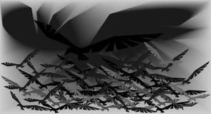 Abstractie van silhouetten van de affiche van vogelsvogels Royalty-vrije Stock Afbeeldingen